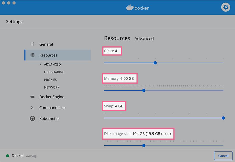 Docker Resource Settings